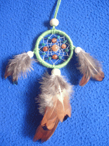 Dreamcatcher pendentif : Gemmes oranges et vertes