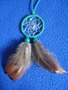 Dreamcatcher pendentif : vert à double plumes