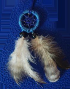 Dreamcatcher pendentif : indigo double plumes