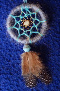 Dreamcatcher pendentif : bleu et or