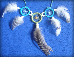 Dreamcatcher ensemble : parure bleu et vert