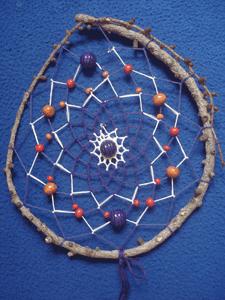 Dreamcatcher grand : forme goutte et perles