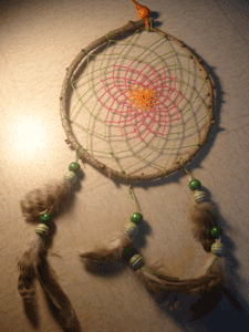 Dreamcatcher grand : Orange vert et rose