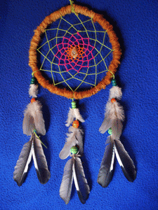 Dreamcatcher grand : autre version rose vert orange